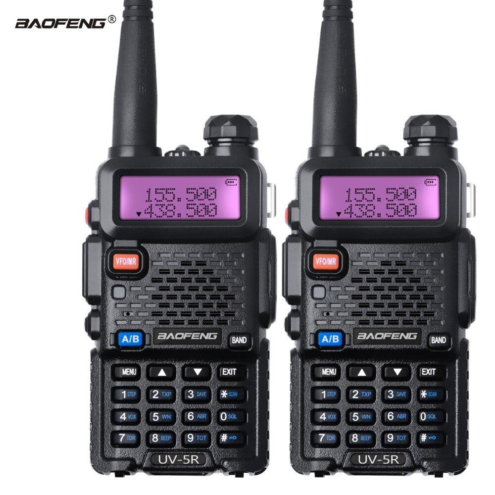 imágenes para 2 Unids WalkieTalkie Baofeng UV 5R de banda dual de Doble Banda CB Radio UV5R Estación de Radio de Jamón Transceptor FM 128CH VOX para La Caza de Radio conjunto
