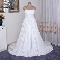 Strapless Ruched Bodice Empire Waist Plus Size Wedding Dress 9WG3707 Silk Taffeta Beautiful Simple Bridal Dress