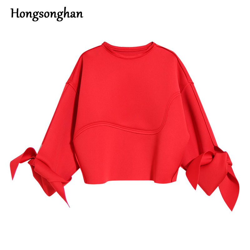 Hongsonghan 2018 designer Style European Hoodies tide section cuff with butterfly knot O -neck space cotton lady sweatshirts