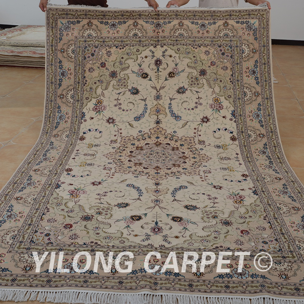 Yilong 6 X9 Oriental Hand Knotted Wool Carpet Beige Exquisite Handmade Rugs India 1416 In Rug From Home Garden On Aliexpress Alibaba Group