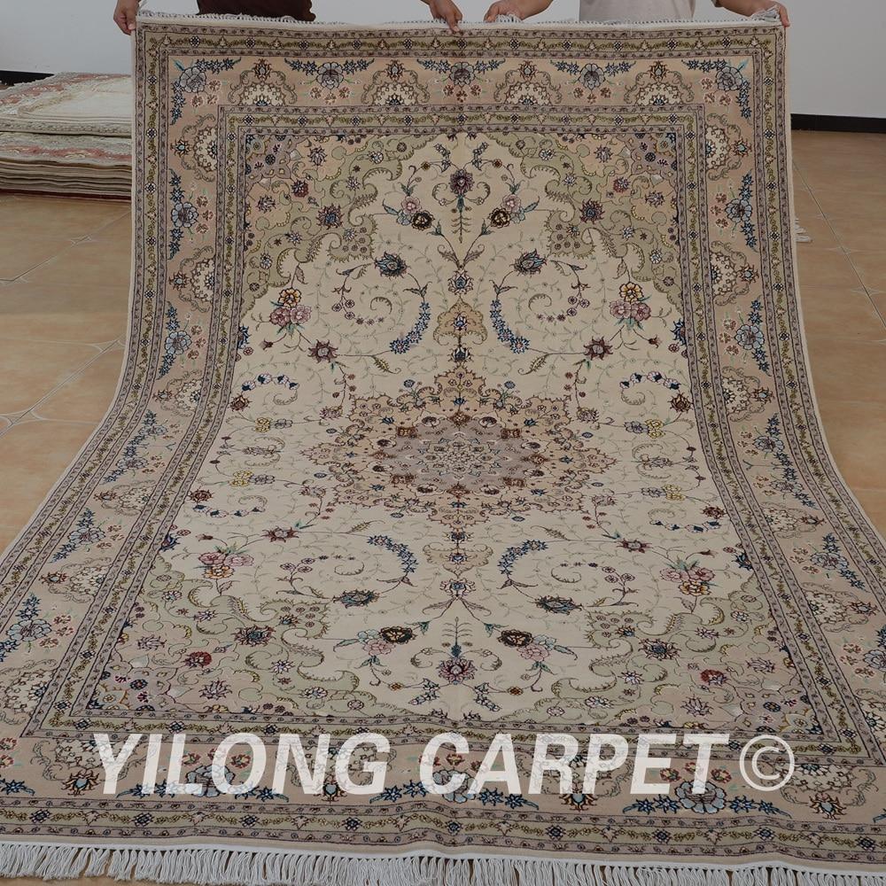 Yilong 6'x9 'oriental tapis de laine noué à la main beige exquis tapis de laine faits à la main inde (1416)