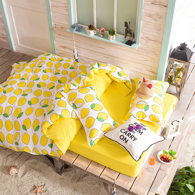 Cute Lemon 3D Bedding Sets Cartoon Fruit Duvet Cover Sets For Children Adults Single Double Bed Twin Queen Size XF342-3
