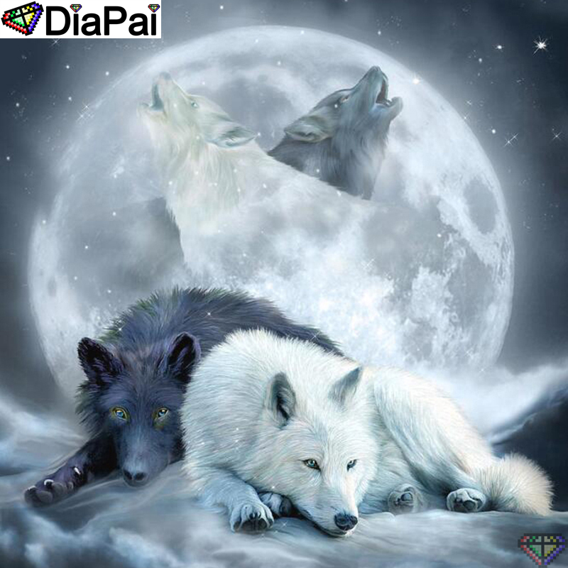 DiaPai 5D DIY Diamond Painting 100 Full Square Round Drill quot Animal wolf moon quot Diamond Embroidery Cross Stitch 3D Decor A22296 in Diamond Painting Cross Stitch from Home amp Garden