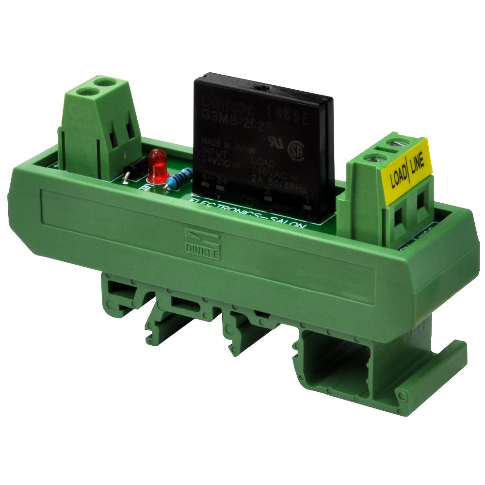 Electronics-Salon DC 24V Slim DIN Rail Mount 2Amp AC Solid State Relay Interface Module, G3MB-202P 24VDC.Electronics-Salon DC 24V Slim DIN Rail Mount 2Amp AC Solid State Relay Interface Module, G3MB-202P 24VDC.