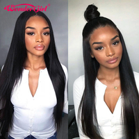 Wonder girl 150% Density Remy 360 Lace Frontal Wig With Baby Hair Peruvian Straight Lace Front Human Hair Wigs For Women Black