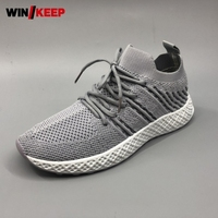 2019 Spring Men Lightweight Outdoor Sport Shoes Lace Up Mesh Socks Sneakers Breathable Running Athletic Shoes Platform Trainers