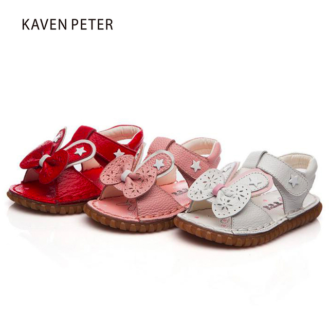 ca0e0f75a7f5 kids girl sandals genuine leather sandals for toddler girls rabbit s ears  with bowtie sandals design leather