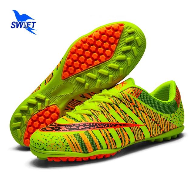 2017 New Professional Kids Turf Soccer Shoes Children Anti Shock TF Football Boots Cheap Women Futsal Cleats Crampons De Foot