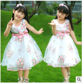 467-10Y new arrival 2016 Childrens clothing female kids child rose expansion bottom one-piece dress girl princess bow veil dress
