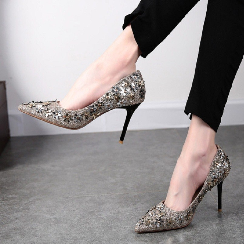 Dama cc b Puntiagudo Zapatos Las Pie Flor Dame Hauts Fiesta c Cresfimix Del bb Sexy Cuero Dedo A2808 La Pu De Alto Moda Aa Tacón Mujeres a Talons Boda fwTfXnqvR4