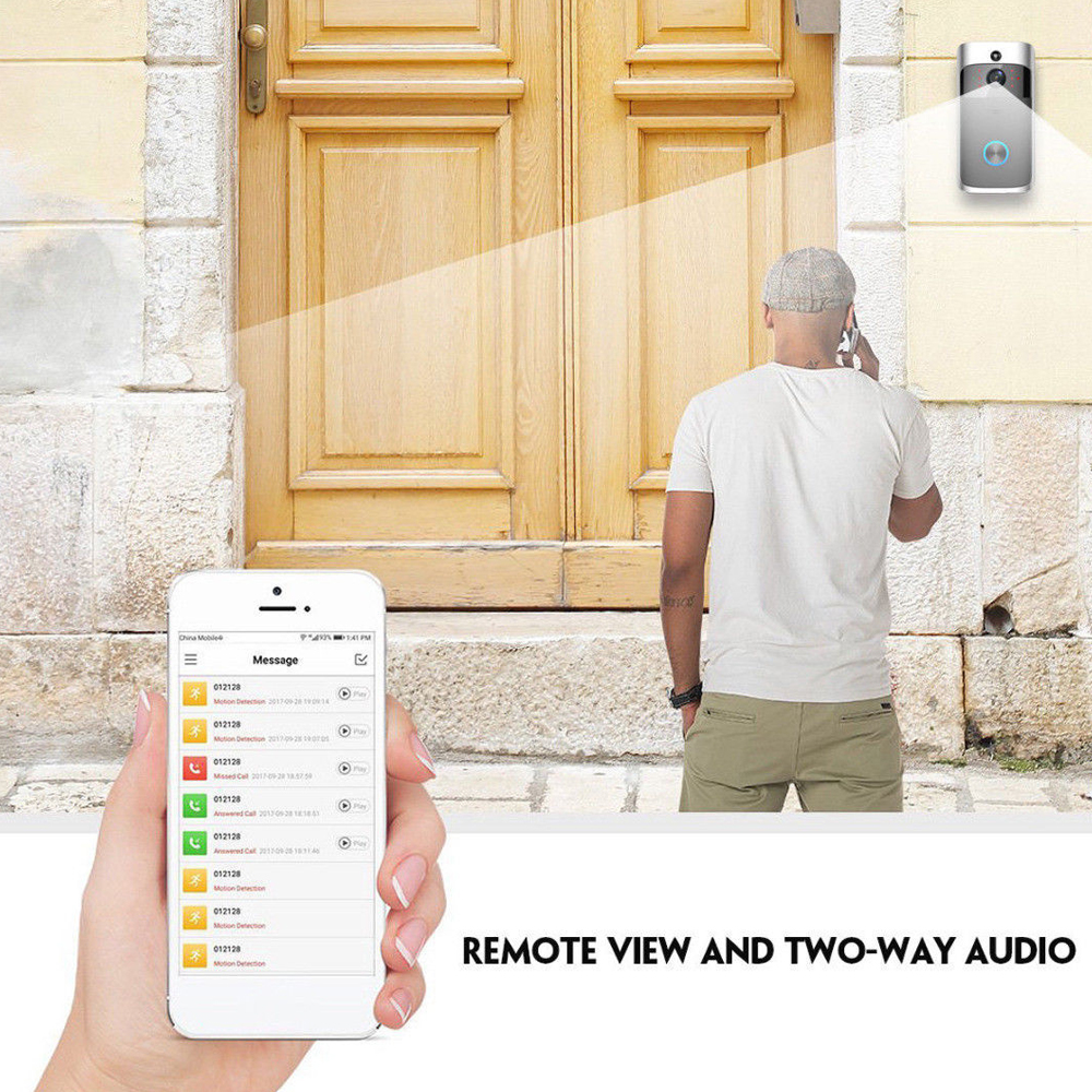 Human - Smart Wireless WiFi Security DoorBell Visual Recording Consumption Remote Home Monitoring Night Vision Smart Video Door Phone
