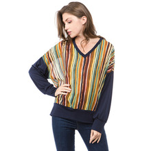 2019 fashion T-shirt with European and American metal hand-drawn blue color stripe knitted jacket grunge streetwear