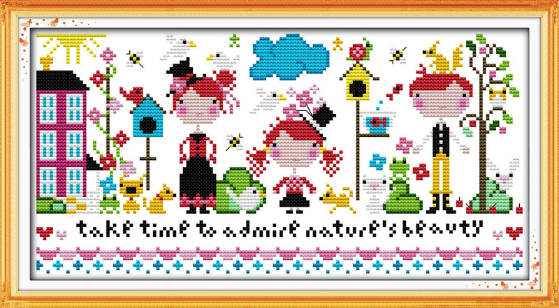 Happy family DMC China Cross Stitch In 11CT 14CT Diy Needlework Counted Cotton Cross stitch Kits for Embroidery Cross Crafts