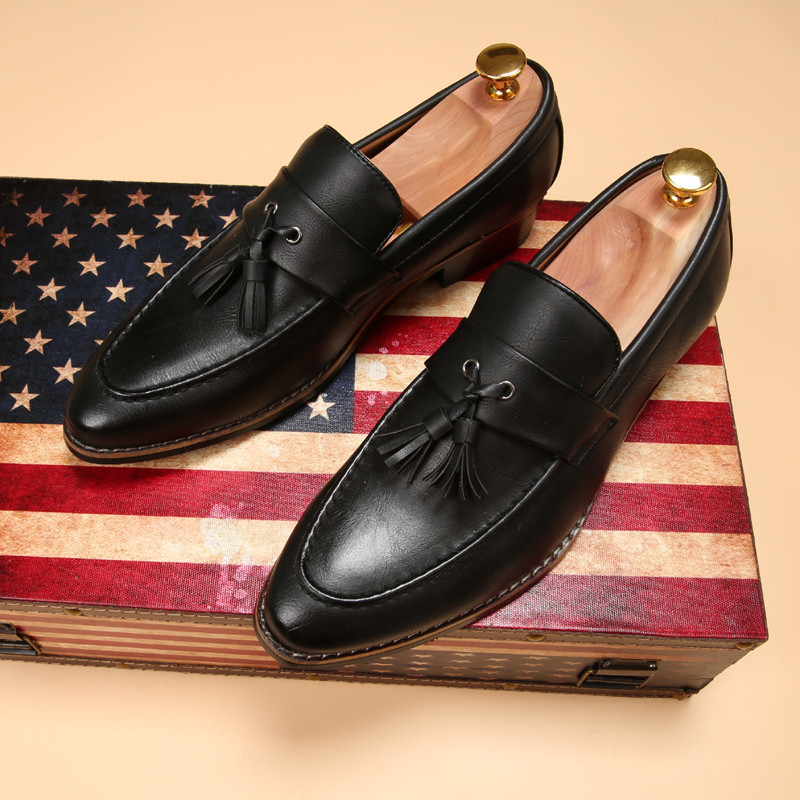 luxury brand mens pointed toe dress shoes famous loafer male gents formal wear ballet flats zapatos hombre oxford shoes for men  (10)