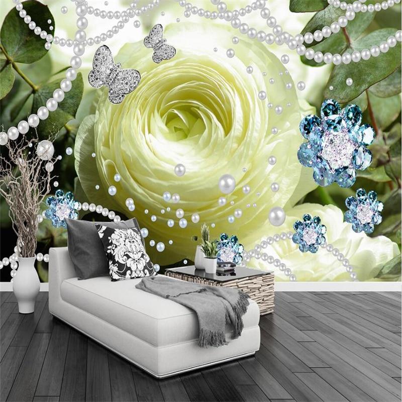 Beibehang росписи обоев пользовательские Гостиная Спальня 3 одна штора с надписью «Dream Girl» Сердце розы жемчуг 3D ювелирные украшения стены