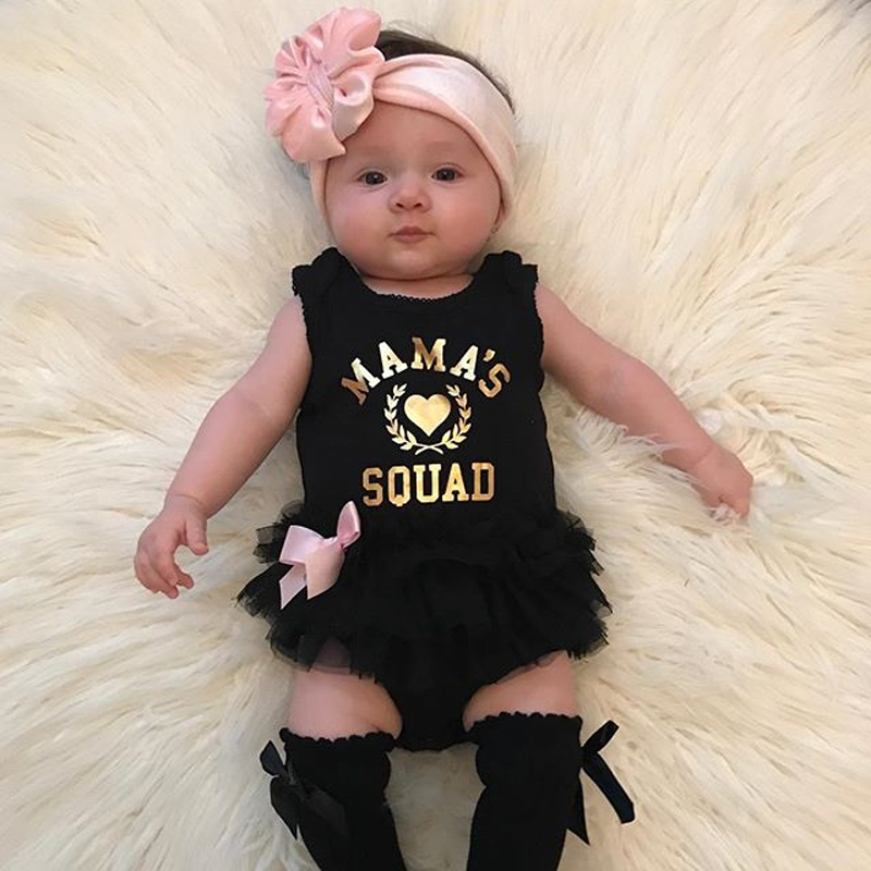 Newborn Baby Rompers Baby Clothes Sleeveless Mamas Squad Black Infant Jumpsuit Outifts Bodysuits Baby Girl Romper Summer Clothes