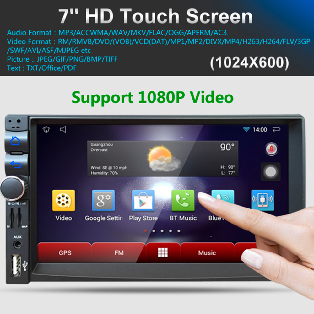 Car DVD GPS Player 1024 * 600 Capacitive HD Touch Screen Radio Stereo 8G / 16G iNAND Rear View Camera Parking Android 5.1 joyous 8 hd capacitive android 4 2 stereo car dvd player w gps navi for vw passat seat skoda