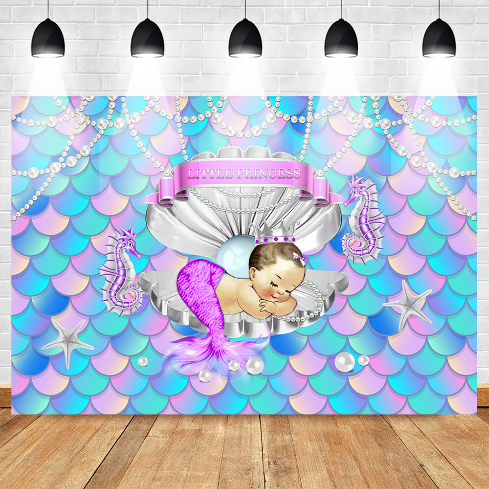 Mermaid Little Princess Backdrop Shell Crown Pearl Blonde Baby Shower Background Birthday Party Decorations Photography