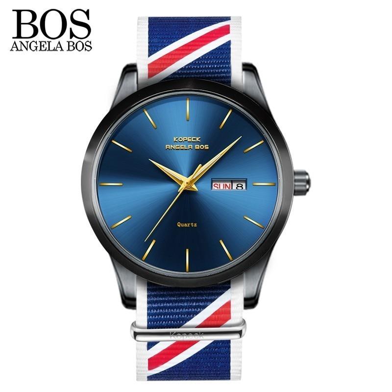ANGELA BOS Բարակ նեյլոնե ձեռքի ժամացույց - Տղամարդկանց ժամացույցներ