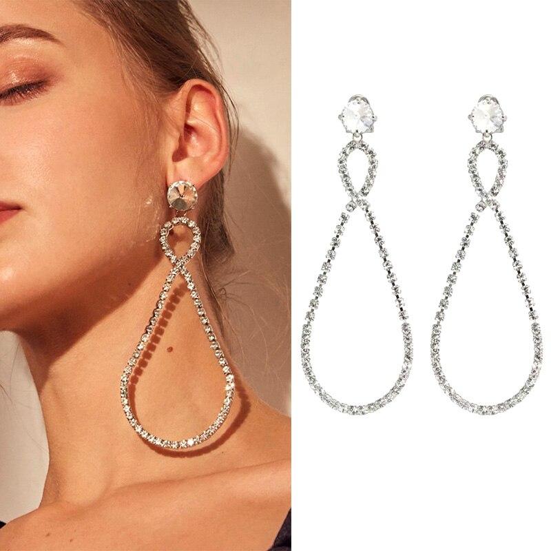 Лучший!  Новые блестящие серебряные кристаллы гипербола серьги для женщин модный большой круглый кулон  Лучш