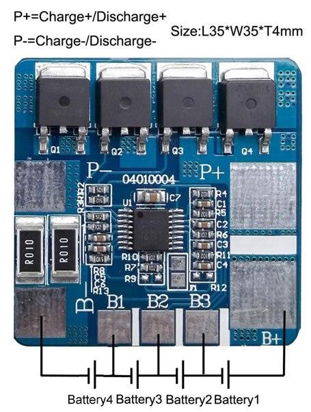 Envío gratis 2 unids/lote 4S 10A li-ion BMS PCM Placa de protección de la batería para el paquete de baterías de litio li-ion SH04010004-LX4S10A