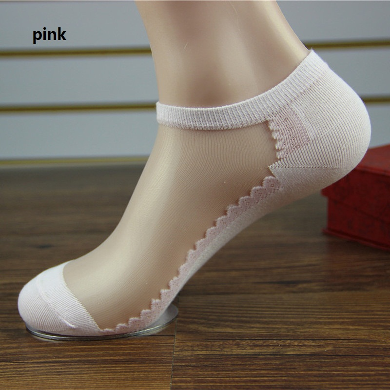 Fashion Style Cotton Socks Ladies Invisible Lace Summer ...