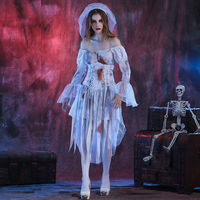 New Fashion Halloween White Ghost Bride Women Cosplay For Halloween Party Fancy Dress Adult Ghost Bride