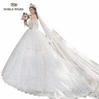 Luxurious Embroidery Appliques Ball Wedding Dress Long Train Puffy Ruffle Long Sleeve Gowns 2018 Real Photo Vestido De Novias