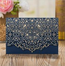 Navy Blue Laser Cut Wedding Invitations Cardstock Kits 100pcs with Embossed Flowers Pocket Cards For Marriage Party Supplies