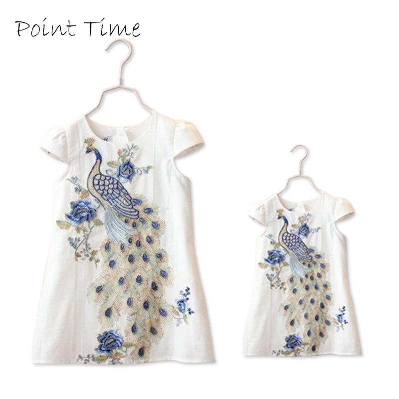 2017 nieuwe stijlvolle zusters jurken familie kleding pauw - Kinderkleding
