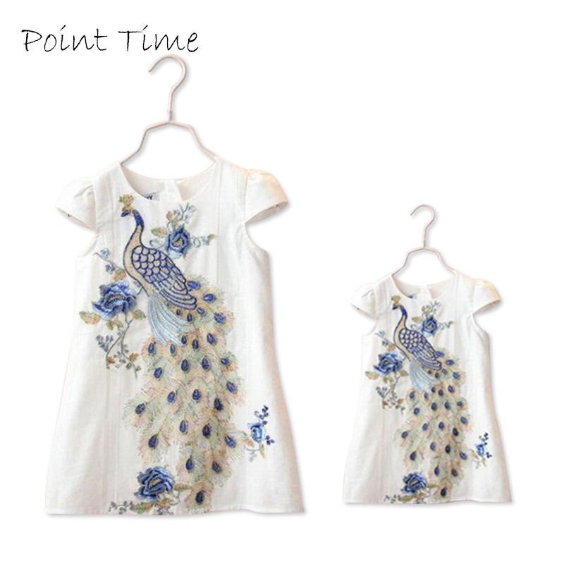 New Stylish Sisters Dresses Family Clothes Peacock Embroidery Dress Short Sleeve Family Girls Clothing Dress Wihte Blue