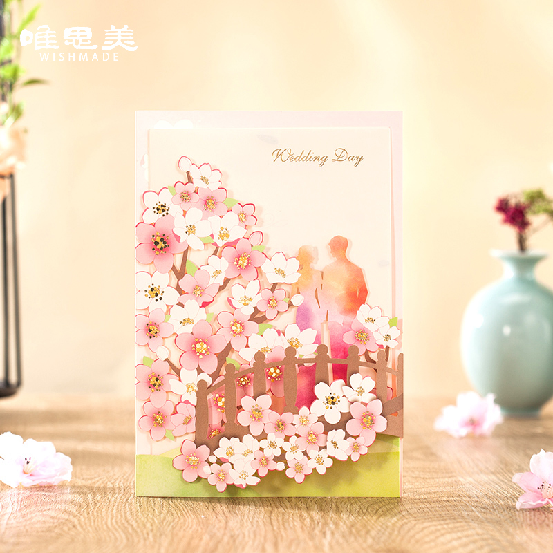 Wishmade Romantic Pink Peach Wedding Invitations Elegant Laser Cut Wedding Events Party Decoration Cards with Envelopes CW7027 1 design laser cut white elegant pattern west cowboy style vintage wedding invitations card kit blank paper printing invitation