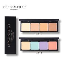HERES B2UTY  Full Cover Paleta De Corretivo Profissional 4 Colors Cosmetic Camouflage Concealer Palette Cream Face Makeup