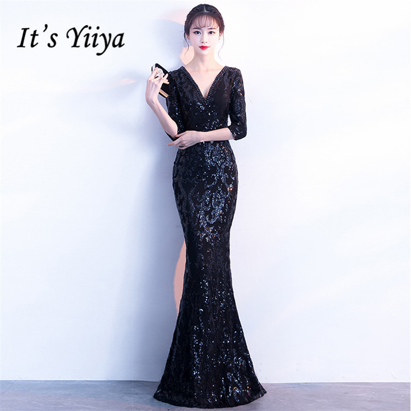 It's Yiiya Evening dress Sequined V-neck long sleeves party gowns Crystal Floor-length zipper back Mermaid Prom dresses C184