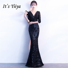 It's Yiiya Evening dress Sequined V-neck long sleeves party gowns Crystal Floor-length zipper back Mermaid Prom dresses C184 it s yiiya sequined evening dress v neck regular sleeve zipper back mermaid prom dresses floor length formal party gowns c070