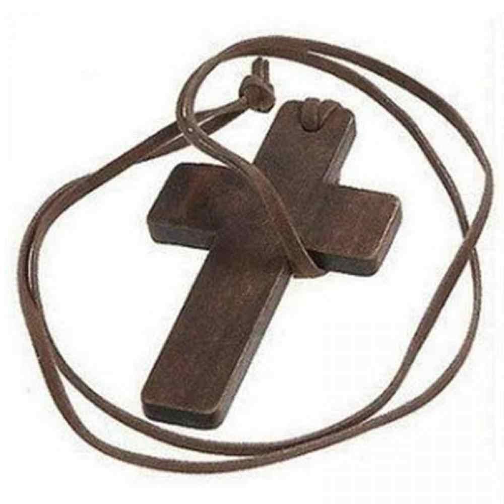 Novo retro masculino feminino marrom placa cruz pingente cristão religioso de madeira colar de couro ajustável cordão jóias