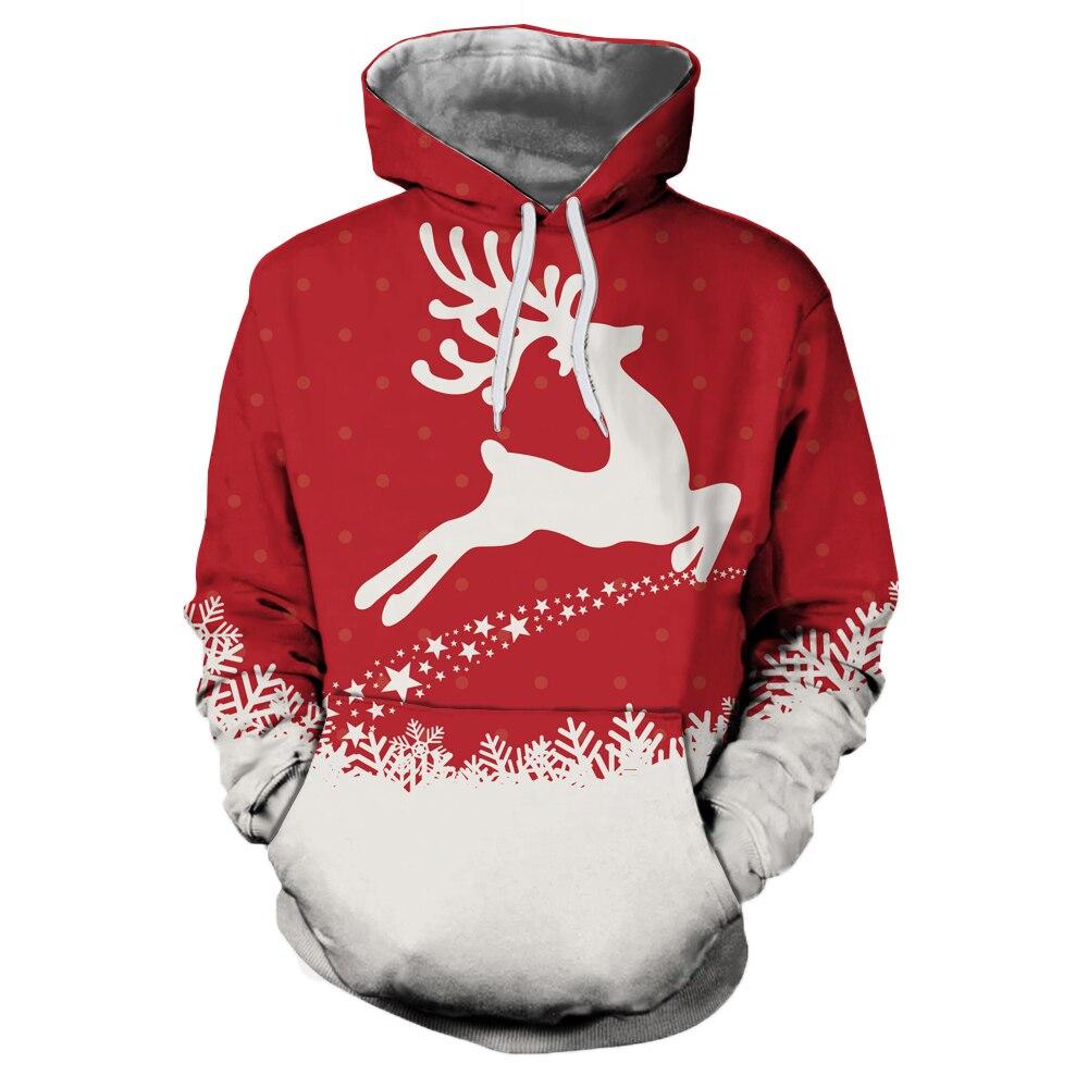 Cartoon Christmas Hoodie Sweatshirt Men Women Pullover Harajuku Deer Snowflake Printed Womens Hoodies Sweatshirts Jumper Tops