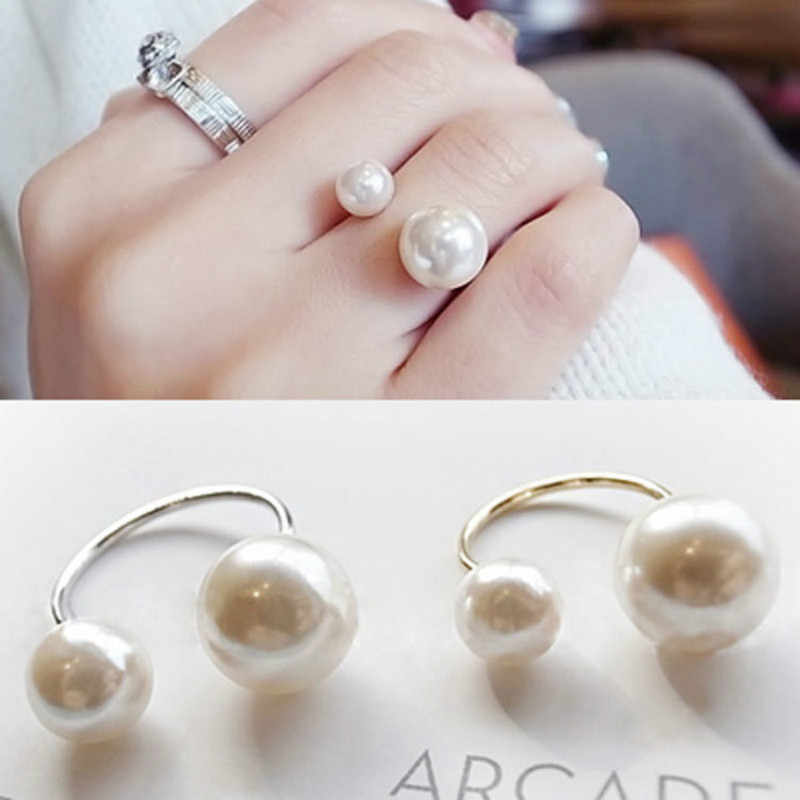 2019 new arrivals fashion hot woman ring imitation pearl street shot accessories adjustable size opening ring for women jewelry