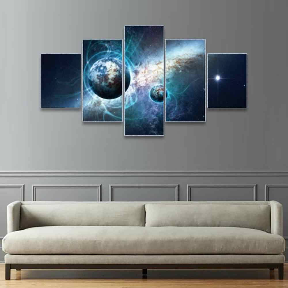 Laeacco Painting Calligraphy Canvas 5 Panel Galaxy Science Fiction Posters and Prints Wall Pictures Living Room Home Decoration