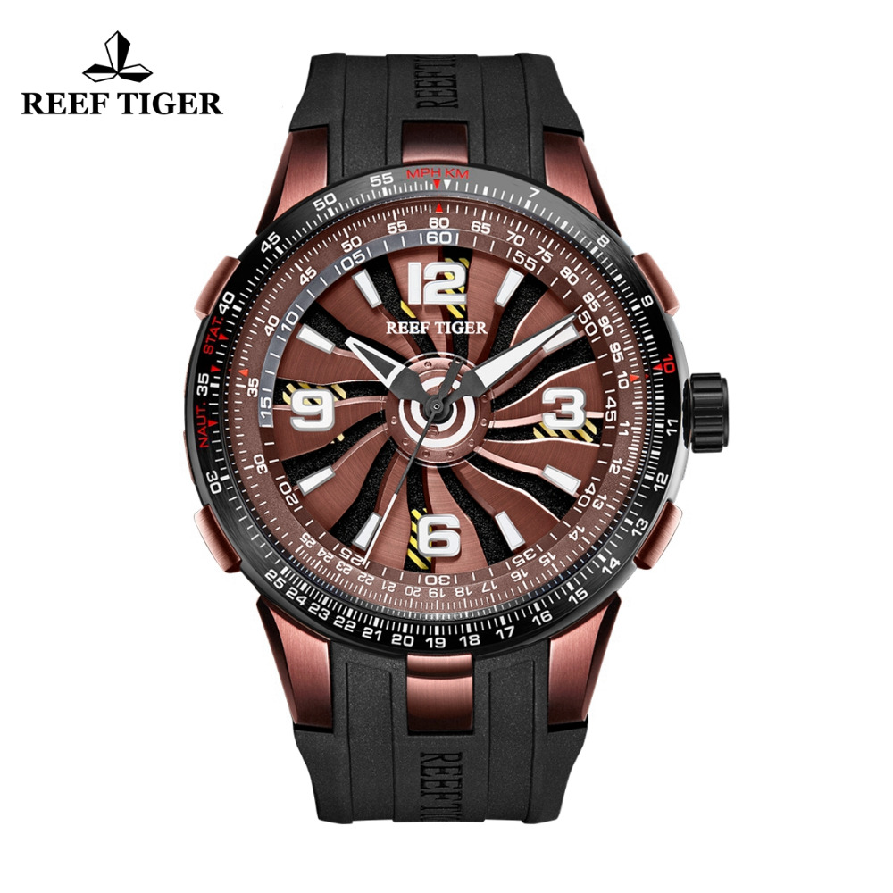 New Design Reef Tiger/RT Brown Dial Military Watches Mens Sport Watches Rubber Strap Automatic Rotate Pilot Watches RGA3059