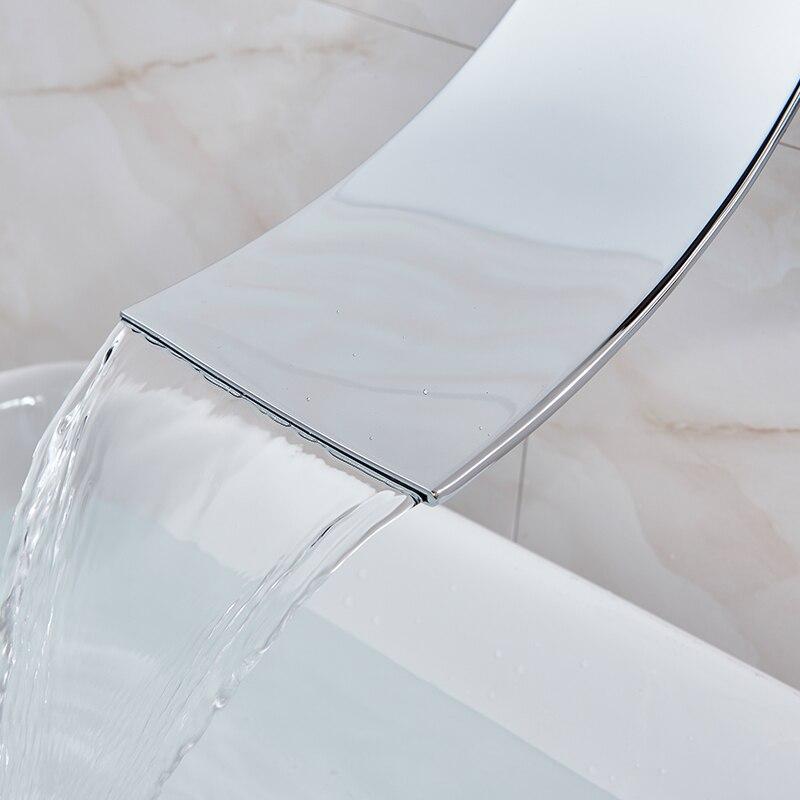 Image 4 - Jasna chromowana łazienka zlewowa typu Waterfall mikser kran pojedyncza dźwignia ścienna mycie krany do umywalek wodospad bateria łazienkowaBaterie umywalkowe   -