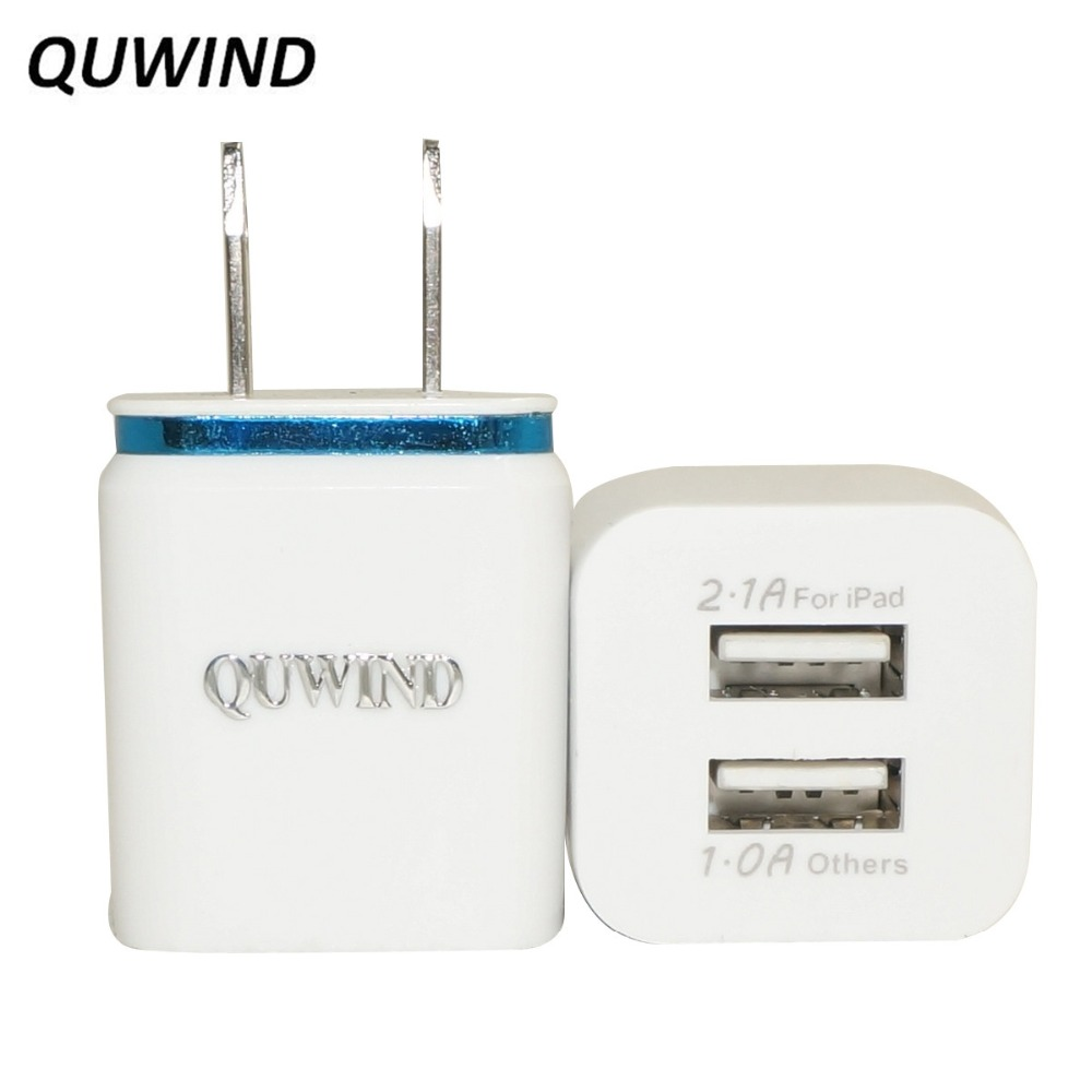 QUWIND 2A Dual USB US Power Adapter Charger for Android HuaWei iPhone 5 6 6S 7 iPad Cellphone