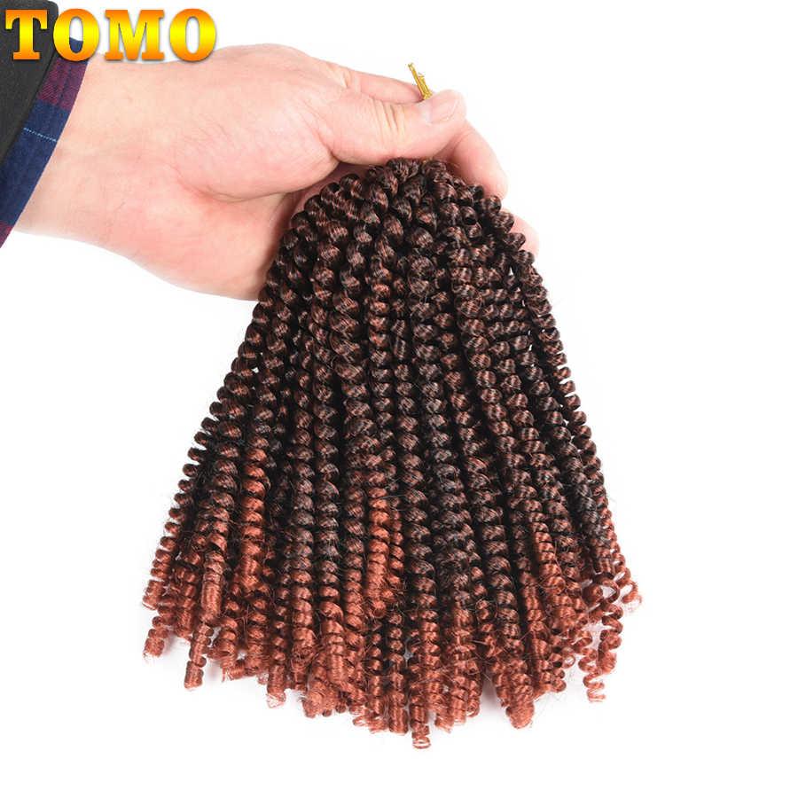 TOMO primavera Twist cabello rizado trenzado cabello 30 raíces rizado extensiones de cabello de ganchillo 8 pulgadas pelo sintético para trenza