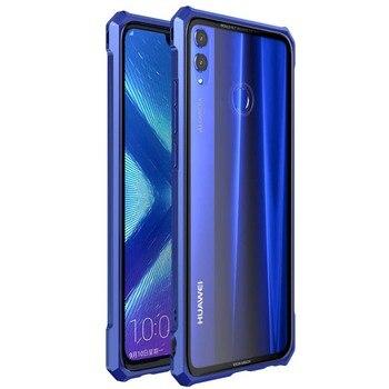 Luksusowe aluminium obudowa z metalową ramką + przezroczysty 9 H szkło obudowa na telefon etui na Huawei Honor 8X 8X Max Honor8X 8 XMax JS0692