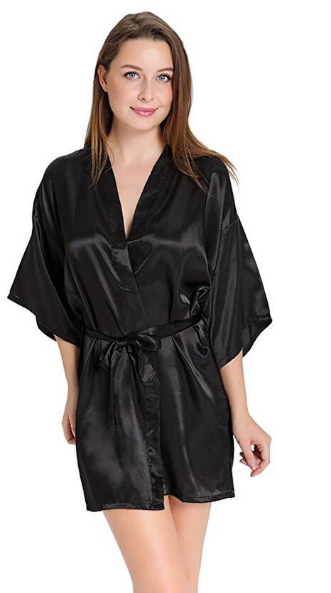 Sexy Silk Satin Night Kimono Robe Short Bathrobe Perfect Wedding Bridesmaid Bride Robes Solid Dressing Gown For Women