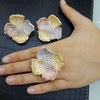 GODKI Luxury 3 Tone Color Begonia Flower Full Micro Cubic Zirconia Women Bridal Wedding Engagement Earring Ring Jewelry Set