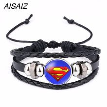 America Super Hero Superheroes Batman Spider-Man Iron Man Superman bracelet pins jewelry fashion women charms Leather bracelets(China)