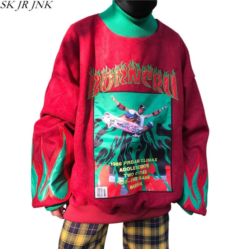 Automne black Couture Occasionnel Streetwear Pull 2018 Sweatershirts Mode Red Couleur Patchwork blue Printemps Capuche Bloc Lâche Femmes De À Wyf60 HIqFwFf