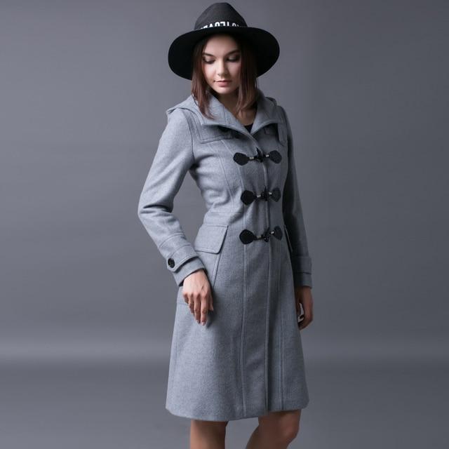 CHAOJUE horn woolen coat European 2016 latest winter hooded blends female classic slim fit gray outwear coats free shipping