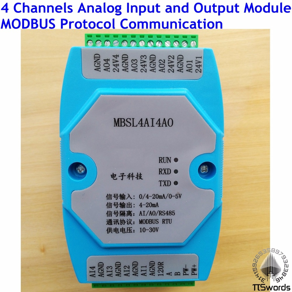 Analog Input And Output Module 4 Channels 12 Bit Ad/da Isolated 4ai Industrial Computer & Accessories 4ao Rs485 Modbus Protocol Communication Rs485 To Ethernet 2019 Latest Style Online Sale 50%